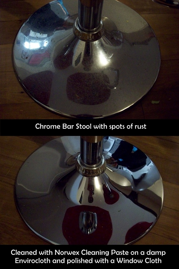 Rusty Bar Stool bases? Norwex has the solution!  You can restore any chrome surface to a brand new shine without the use of harmful chemicals!