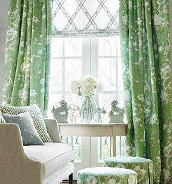 Green And White Ikat High End Designer Window Curtains Fully Lined Panels Interior Design Fab Interior Design Fabric Pleated Curtains Custom Drapes