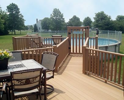 228 best images about above ground pool decks on pinterest for Above ground pool decks attached to house