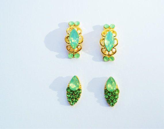4 pcs of Green Nail Charm,Rhinestones,Opal Nail Charm,3d Nails,Nail Art,Nail Studs,Nail Accessories,wedding Nails,Prom Nails,Nail Jewelry