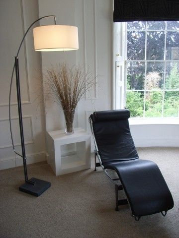 contemporary standard lamp in georgian drawing room