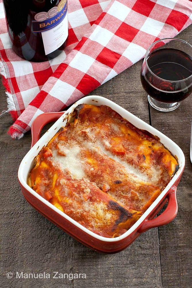 Stracci di Antrodoco - a typical Italian recipe from the ancient town of Antrodoco: thin frittatas filled with meat sauce, mozzarella and Pecorino Romano.