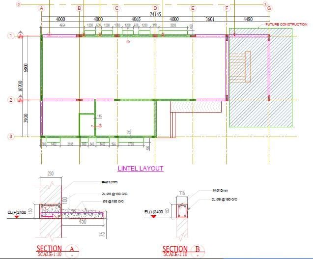 Lintel Beam Layout And Details In 2020 Plumbing Drawing Roof Beam Structural Drawing