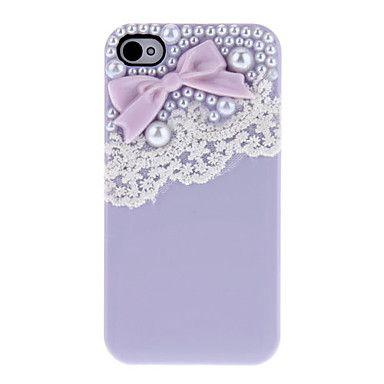 Bow com grânulos e laço bonita coberta com cola Hard Case para iPhone 4/4S (cores sortidas) – BRL R$ 7,82
