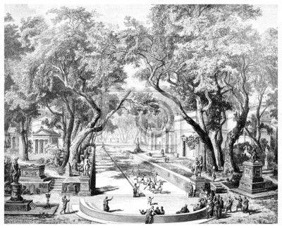 Carta da parati incisione vittoriana di una antica città scena a sparta, grecia - antico • PIXERS.it