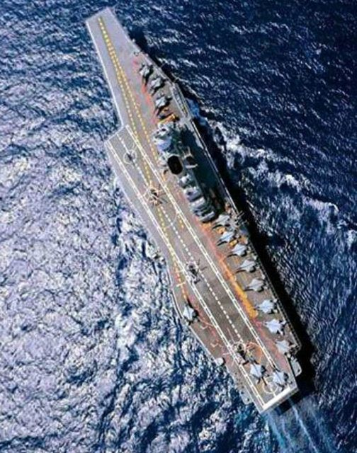 Aerial view of INS Vikramaditya. .Indian Modified-Kiev Class – one of two aircraft carriers in the Indian Navy, the INS Vikramaditya began life as a Soviet 1980s ship.