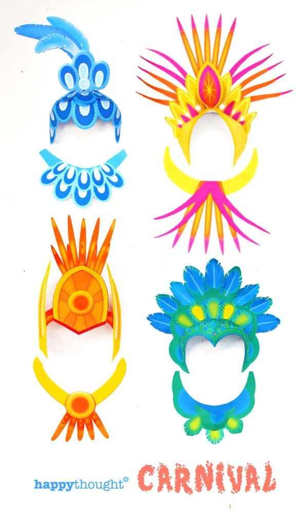 Fun school or home activity for Carnival! Make your own crowns and headpieces using easy templates. #diyheaddress #carnival