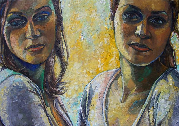 Papageorgiu Andrea  'With my sister'  2014  Oil on canvas