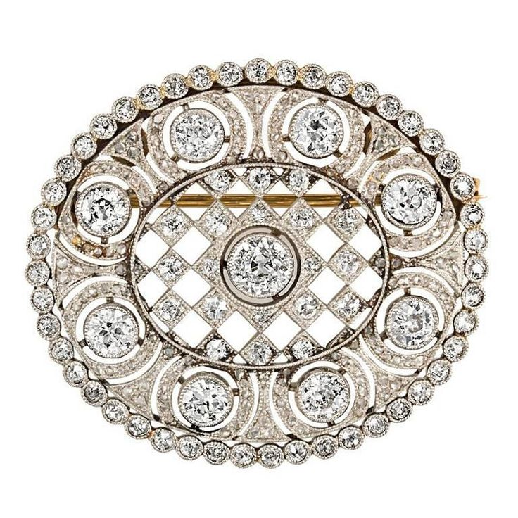4.74 Carat Platinum Art Deco Brooch   From a unique collection of vintage brooches at https://www.1stdibs.com/jewelry/brooches/brooches/
