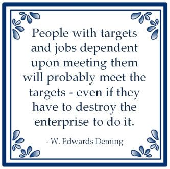 People with targets and jobs depenent upon meeting them will probably meet the targets - even if they have to destroy the enterprise to do it. - W. Edwards Deming