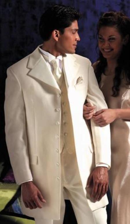 "mirage tuxedo in champaigne with peach tie | SKU#106 Ivory~OFF White~Cream Tuxedo 35.5\"" Length Coat Large Satin ..."
