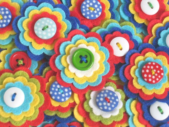 CIRCUS - Set of 3 Handmade Layered Felt Flower Embellishments in Blue Red Aqua White Lime Yellow / Felt Applique