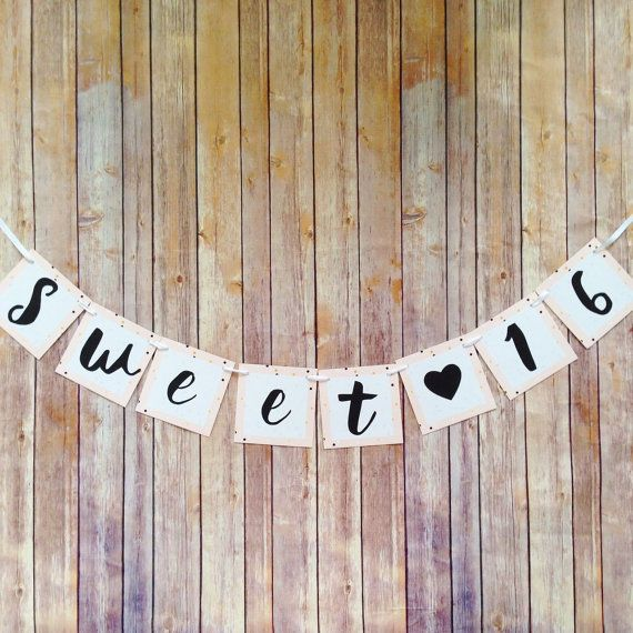 sweet 16 banner pink sweet 16 birthday by simplysweetpartyshop