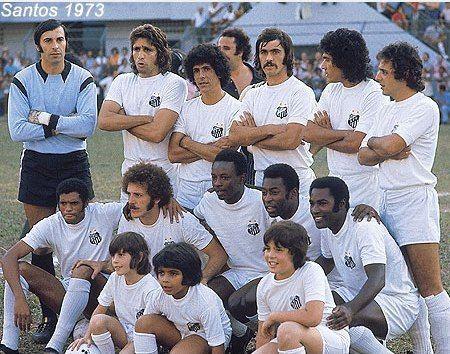 """1973 Santos FC. Standing : Cejas, Marinho Perez, Zé Carlos, Vicente, Clodoaldo and Turcão   Kneeling : """"Jair"""" Jair da Costa (Santos FC, 1972–1974, 19 apps, 3 goals), Brecha, Eusébio, Pelé and Edu."""