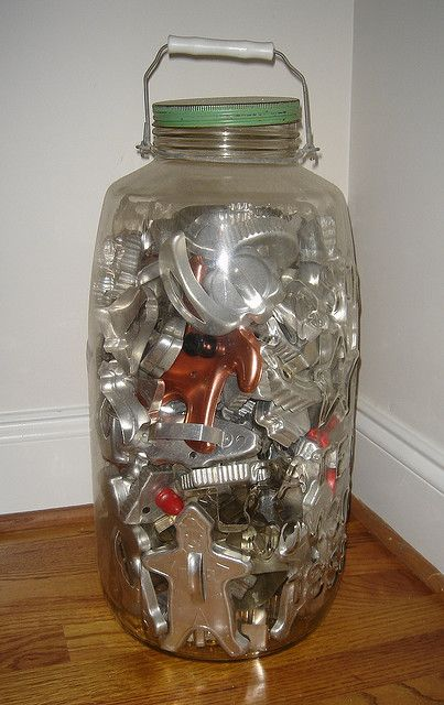 Perfect solution for the jar filled with faux fruit (which I hate!)...I will display my Mamaw's beloved vintage cookie cutters (currently hidden in a drawer)...yea!!!! Thank you for pinning this!!!!