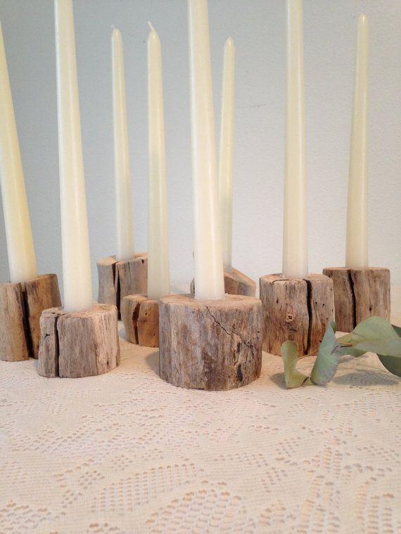 Driftwood vela titulares 8 piezas centro de mesa por TheGrayFinch