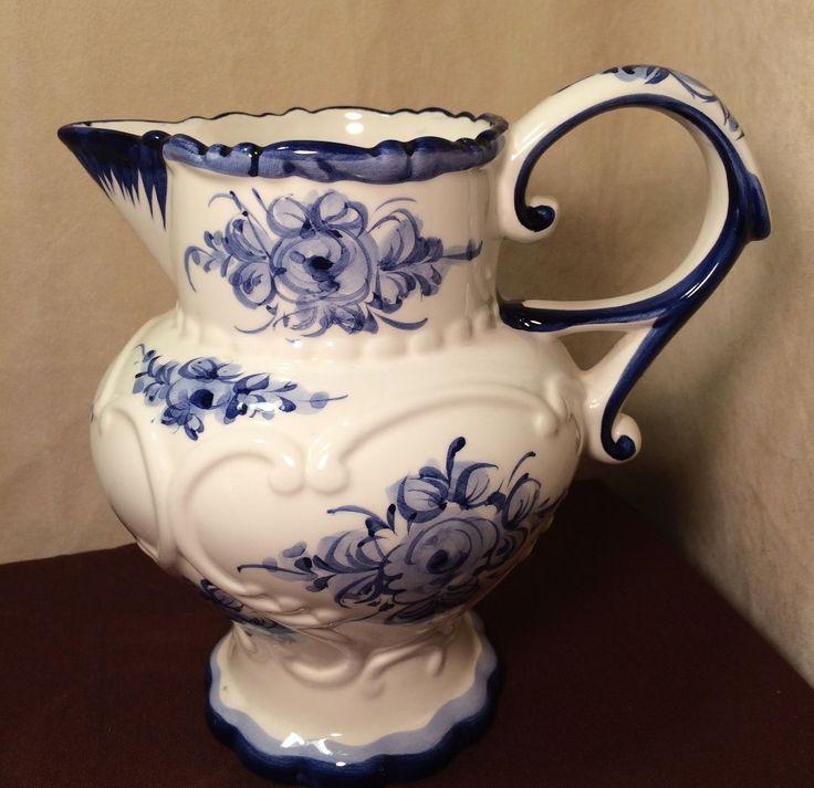 RP: Vintage Alcobaca Vestal Floral Blue Pitcher Portugal | eBay.com