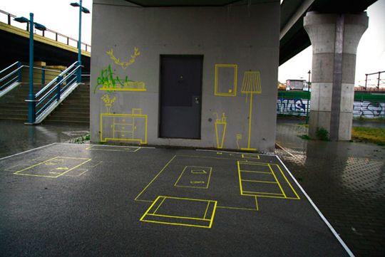 Berlin-based urban intervention collective Stiftung Freizeit has designed an illusionary 'Wohnzimmer' under a bridge in Berlin