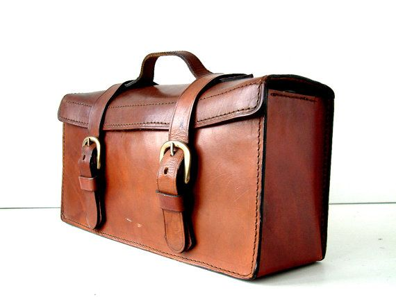 Vintage French Leather Bag. Hand made.  1940's