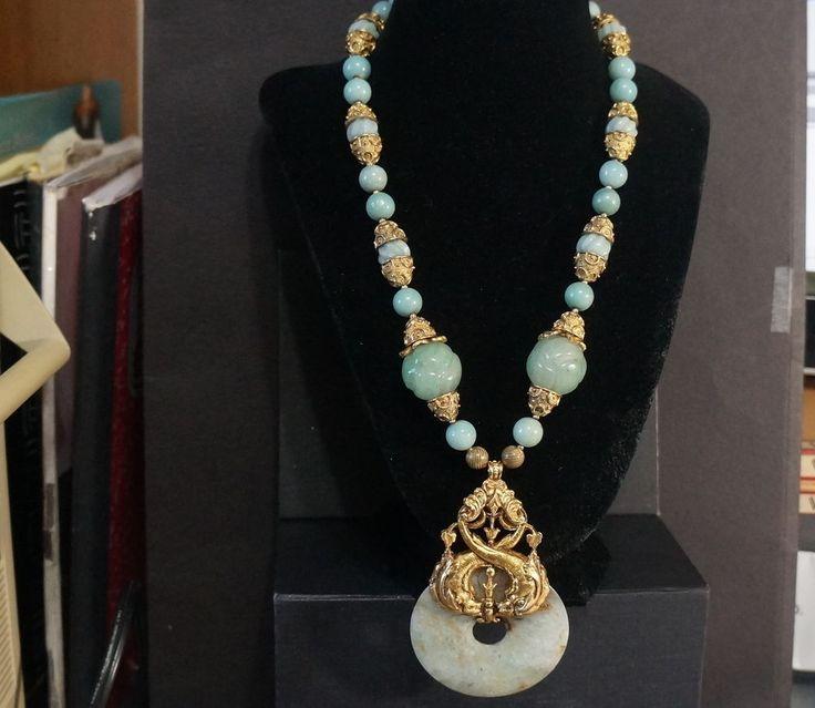 Vtg Sgnd Jose Barrera Neiman Marcus Dragon Bird Goldtone Medallion Necklace
