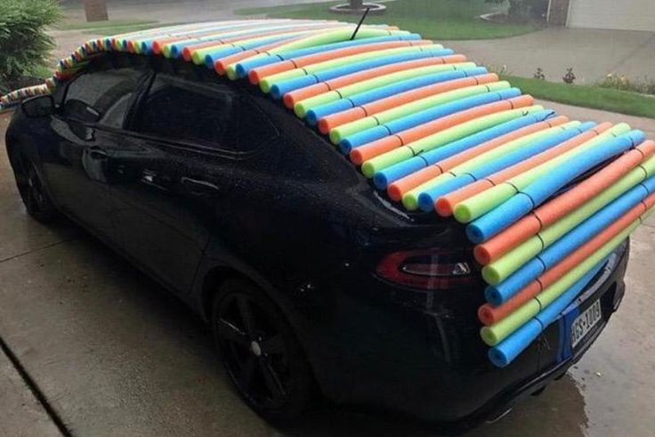 Pool Noodle Car Hail Protection Photo by Jon Pool