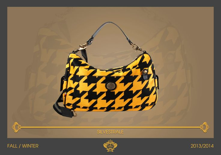Handy and bright! SILVESTRALE is the shoulder bag in black and yellow macro pied de poule. Take with you this bag in your urban jungle! Orobianco Men's Collection F/W 2013/2014