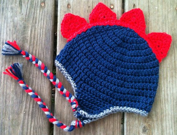 Baby Toddler Boy Crochet DINOSAUR Spike Earflap Hat with Braids - Sizes: Newborn to 10 yrs - Winter Hat - You Pick Colors on Etsy, $16.00
