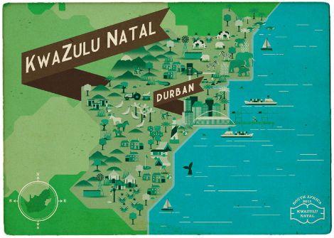 KwaZulu Natal South Africa postcard map