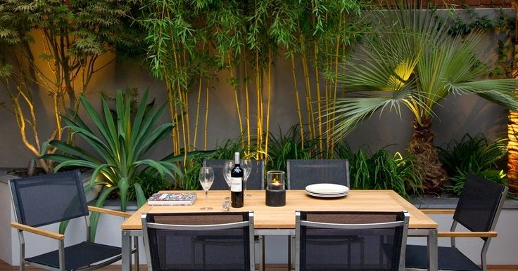 Outdoor Dining Table Sets With Wooden Top And Black Net Chairs Plus Contemporary Garden Behind.