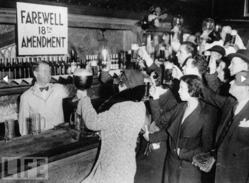 December 1933 - Prohibition ends with the ratification of the Twenty-first Amendment, which repealed the Eighteenth Amendment DRINK UP!