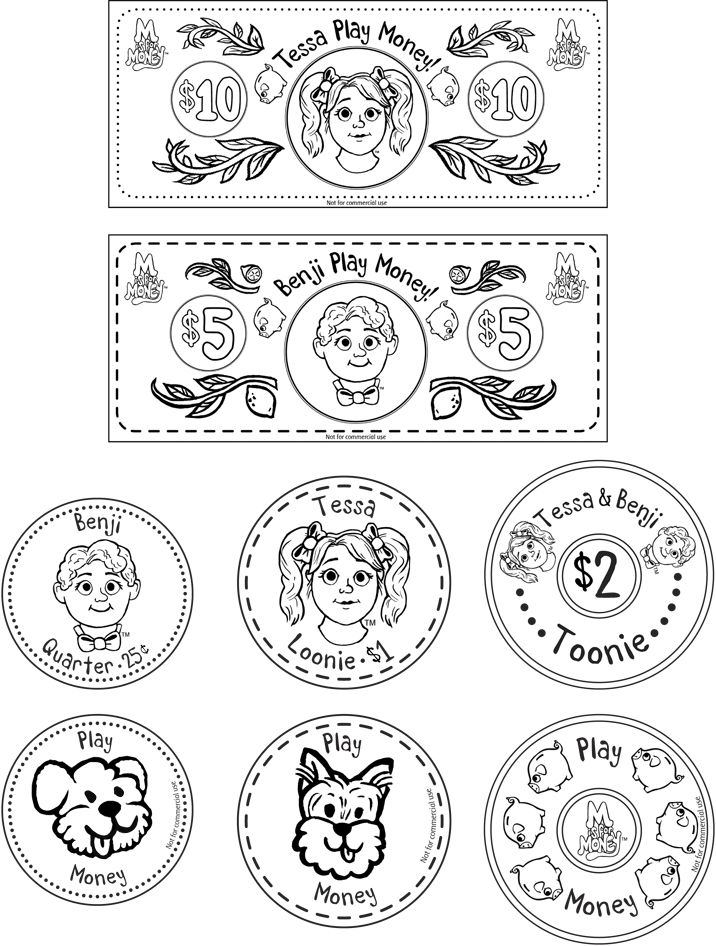 Colour your own money! Visit www.MisforMoney.ca to buy our books and for more free downloads and fun money stuff! #misformoney