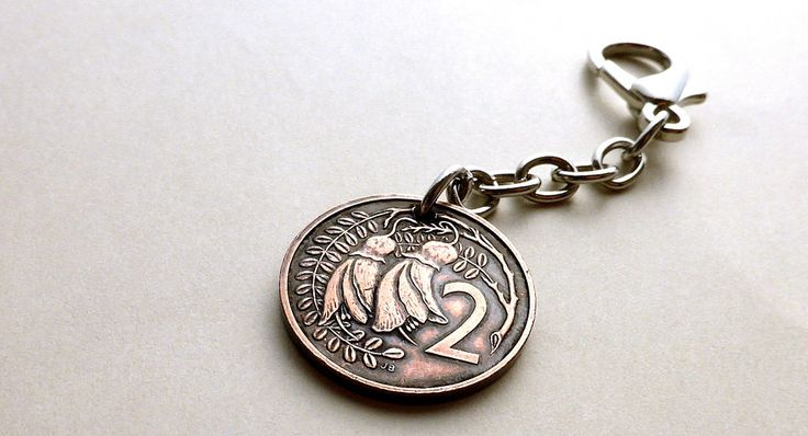 Coin charm, New Zealand, Flower charm, Flower keychain, Kowhai flower, Coin keychain, Purse charm, Handbag charm, Coin, Charm, Flowers, 1987 by CoinStories on Etsy