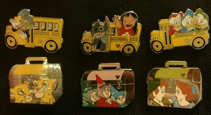 Disney Pins 2008 Hidden Mickey Back to School Bus & Lunch Box Complete Pin Set