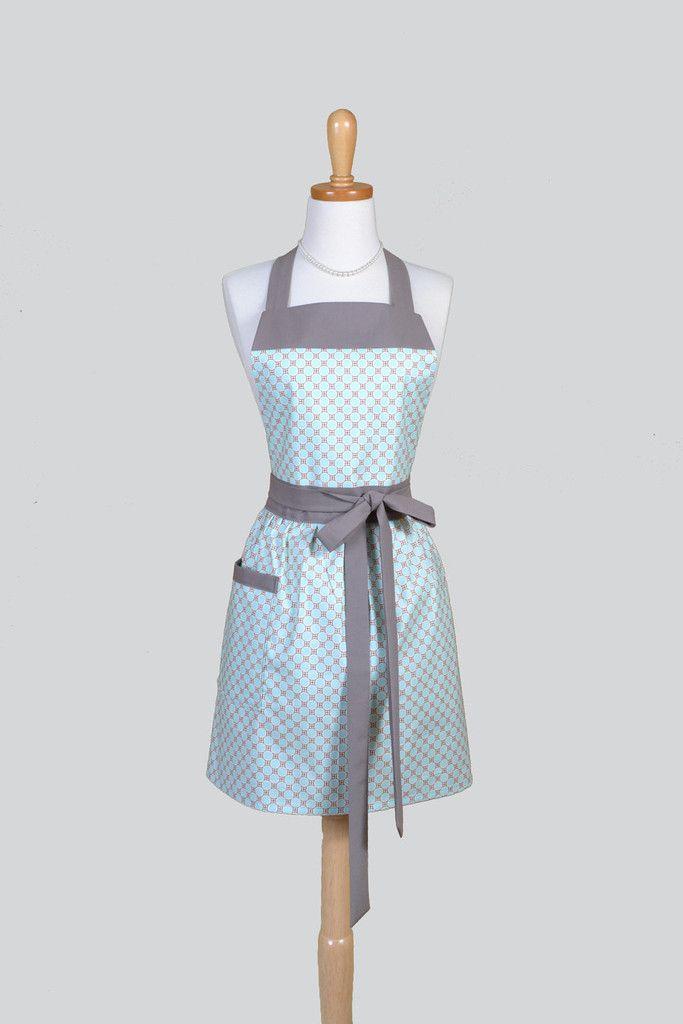 Chef Bib - Modern Teal Blue and Taupe Polka Dot Kitchen Apron - Creative Chics - 1