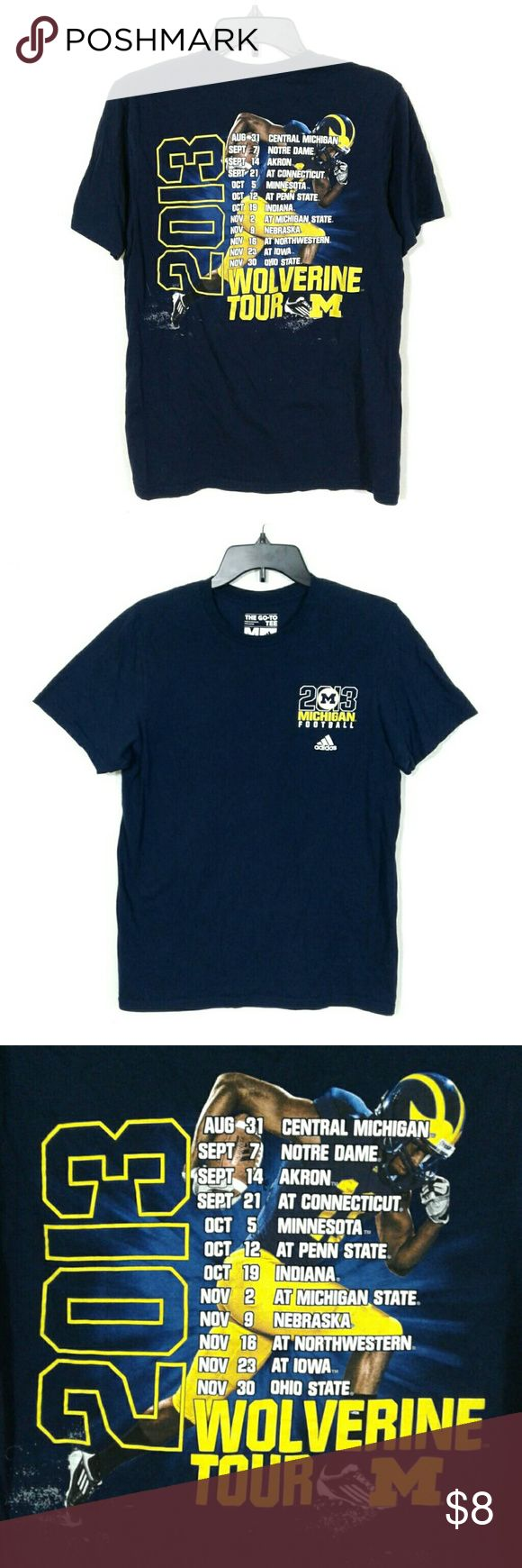 """U of Michigan Wolverines football t-shirt Offers are Awesome!  Bundles make it Better!  University of Michigan Wolverines football t-shirt. Blue base with 2013 M Football and Adidss logo printed in white on front left chest. Full rear print of player with season game schedule. 100% cotton. Printed on Adidas GoTo tee. Very good condition without flaws or signs of wear. Size medium. Measurements laid flat: Bust 19""""  Length 26"""" #michiganwolverines #letsgoblue #michiganfootball adidas Shirts…"""