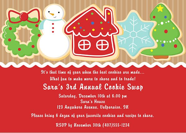Christmas Cookie Party Invite.Fabulous Christmas Cookie Party Invites Yl04