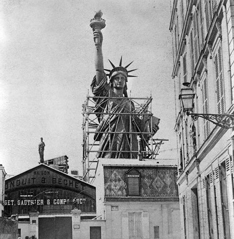 Paris, France: Statue of Liberty in Paris crated for shipment to the United States. Photograph. 1887.