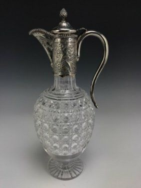 VICTORIAN STERLING SILVER & CUT CRYSTAL CARAFE