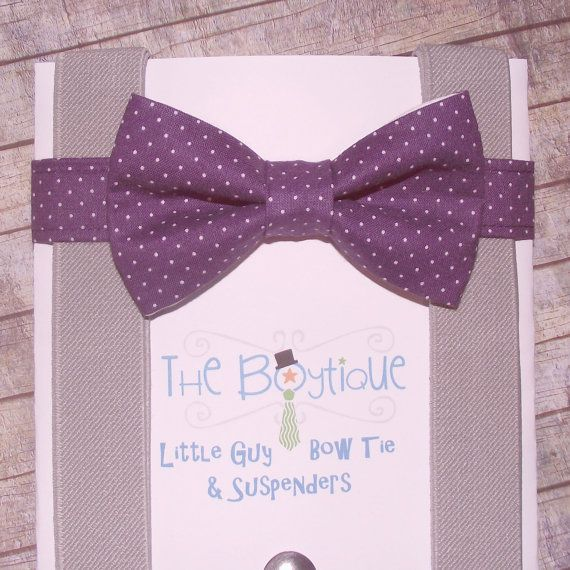 Purple Bow Tie and Suspenders, Purple Polka Dot Bow Tie with Grey Suspenders, Toddler Suspenders, Boy Suspenders, Kids, Wedding, Ring Bearer