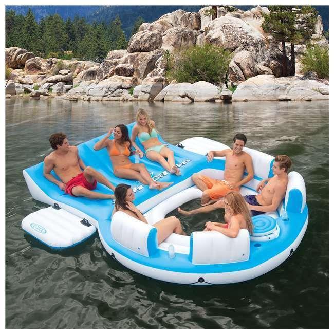 Jangada tropical inflável da ilha de Tahiti que flutua 7 pessoas Pool Lake Party Lounge   – Floaties