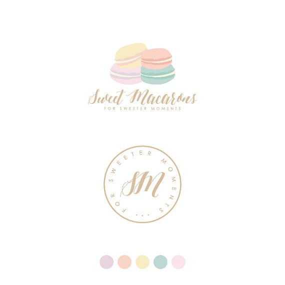 Macarons Logo Sweets Bakery Logo by GraphicsCrush on Etsy