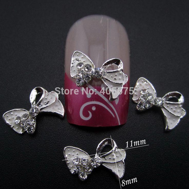 10 unids lazos blancos 3d del arte del rhinestone brillo de la aleación charms decoración de uñas accesorios salón YNS35