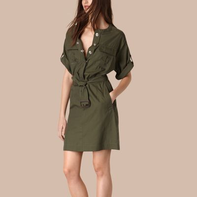 Cotton and Silk Blend Military Dress Olive | Burberry