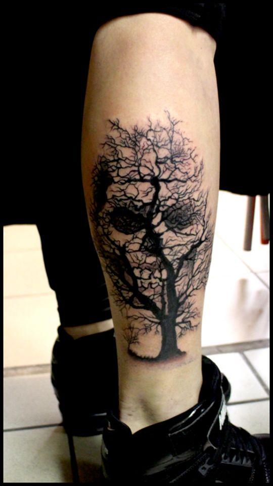 Ideia Quente: 25 exemplos incríveis de tatuagens que combinam caveiras com ilusão de ótica