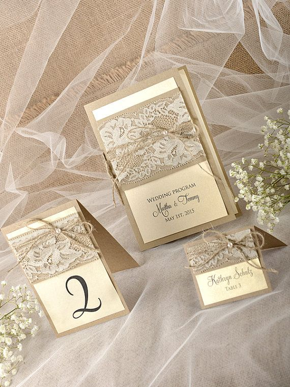 ♥-Rustic Wedding Set-♥-------------------------------    The wedding set includes:  (10) Wedding Program 6x 8,