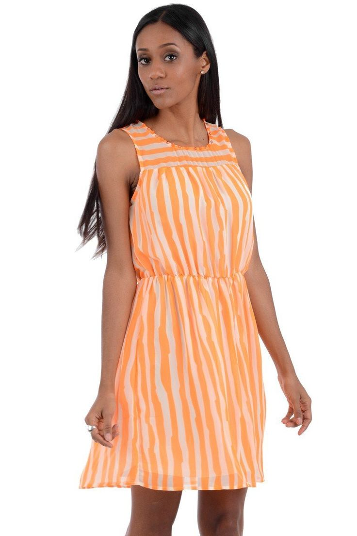 Neon Stripy Summer Dress with Jewel and Spike Neckline. This dress is sleeveless and has an elasticated waistline. Perfect for a summer day or night. This dress is true to size   Material:  100% Polyester   Approximate measurements for smallest size:  Waist: 42cm  Total length: 86cm  £14.99