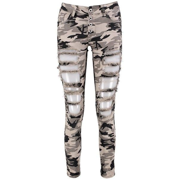 Boohoo Amelia All Over Distress Camo Skinny Jeans ($40) ❤ liked on Polyvore featuring jeans, super skinny jeans, white high waisted jeans, high rise skinny jeans, high-waisted skinny jeans and ripped skinny jeans