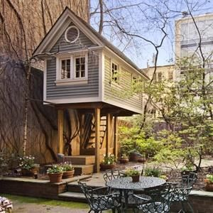 TEA PARTY HEADQUARTERS: A treehouse (interior below) comes as part of a house up for sale for $10.5 million on East 93rd Street.