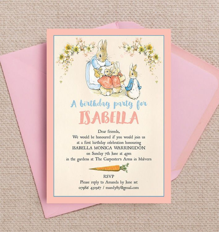 handmadest birthday party invitations%0A Flopsy Bunnies Beatrix Potter Kids Personalised Birthday Party Invitations   DIY Printable PDF or Printed  u