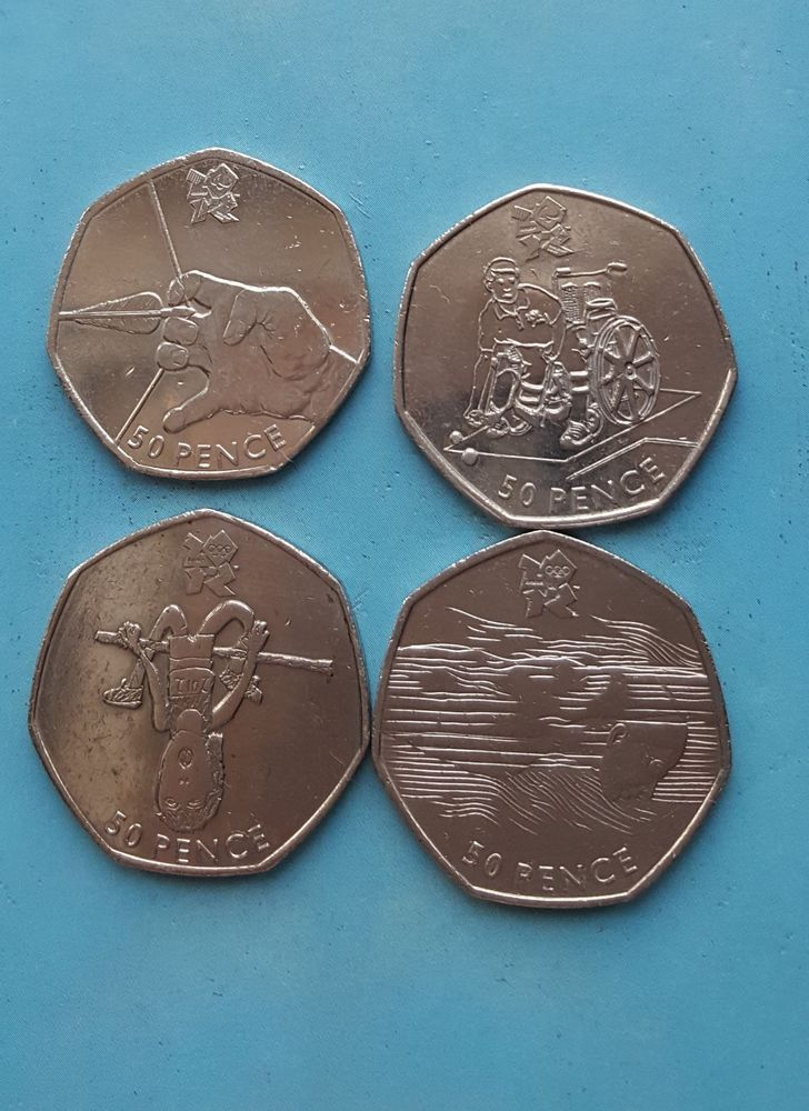 50p Olympic coins  Athletics Boccia Archery Aquatics £7.25 or Best Offer Ebay Uk Item Number 263527623799